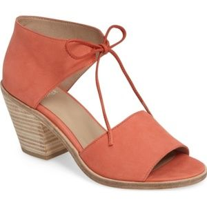 Eileen Fisher Ann Ankle Tie Coral Sandal Size 8